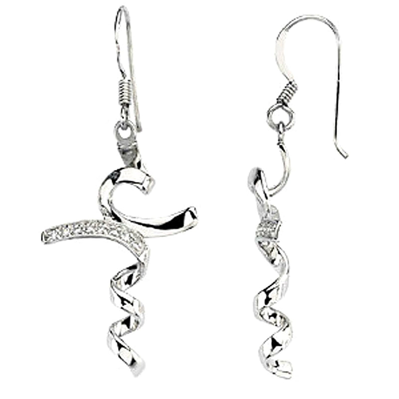 CZ 'I Stand in Awe' Dangle Earrings in Rhodium Plate Sterling Silver