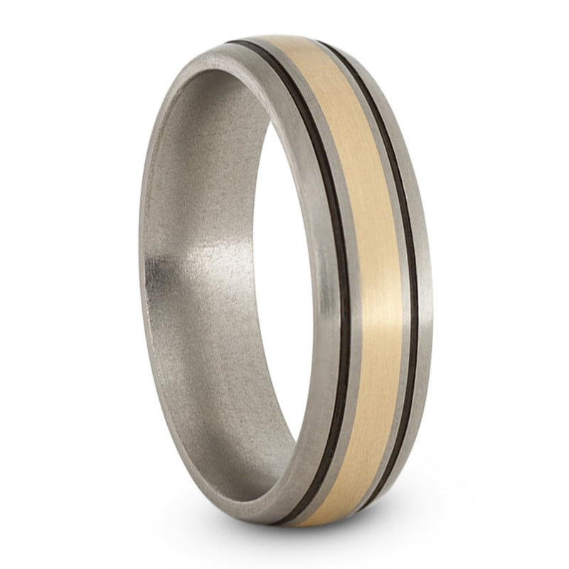 Satin Brushed Titanium, 14k Yellow Gold and Black Pinstripes 6mm Comfort-Fit Dome Wedding Band