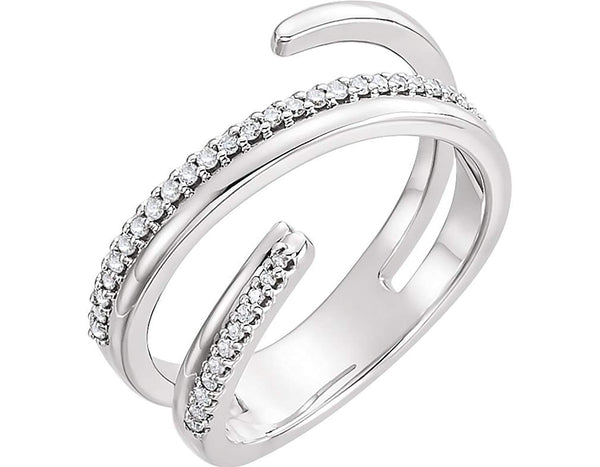 Diamond Negative Space Ring, Rhodium-Plated 14k White Gold, Size 7.75