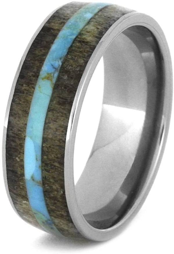 Turquoise Pinstripe, Deer Antler 8mm Comfort-Fit Titanium Band, Size 6.5