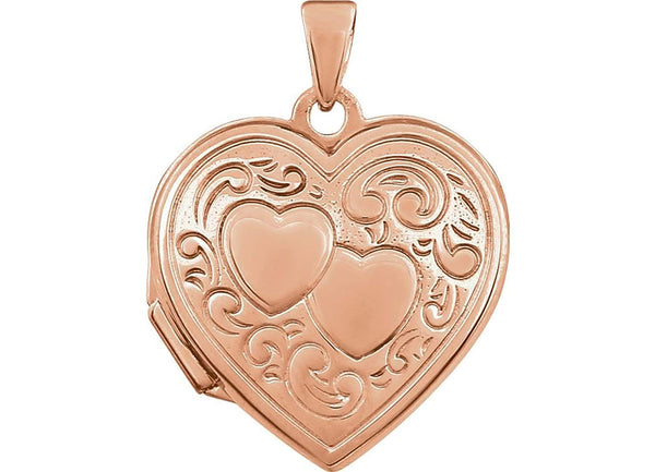 Rose Gold Plated Sterling Silver Two Heart Locket Pendant