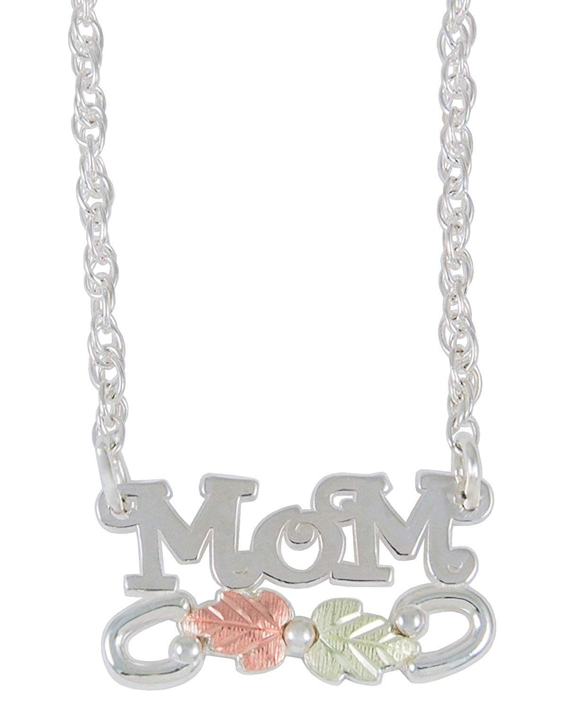 Mom Pendant Necklace, Sterling Silver, 12k Green and Rose Gold Black Hills Gold Motif, 18""