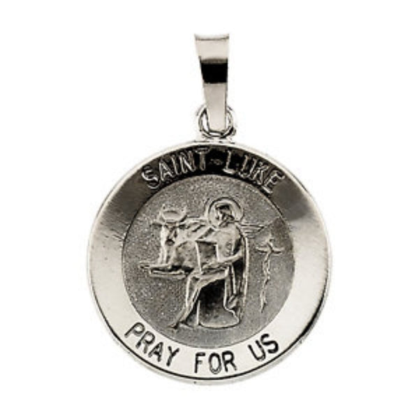 Sterling Silver Round St. Luke Medal (15MM)