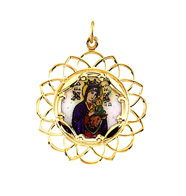 10k Yellow Gold Our Lady of Perpetual Help Framed Enamel Pendant (25.75x25.75 MM)
