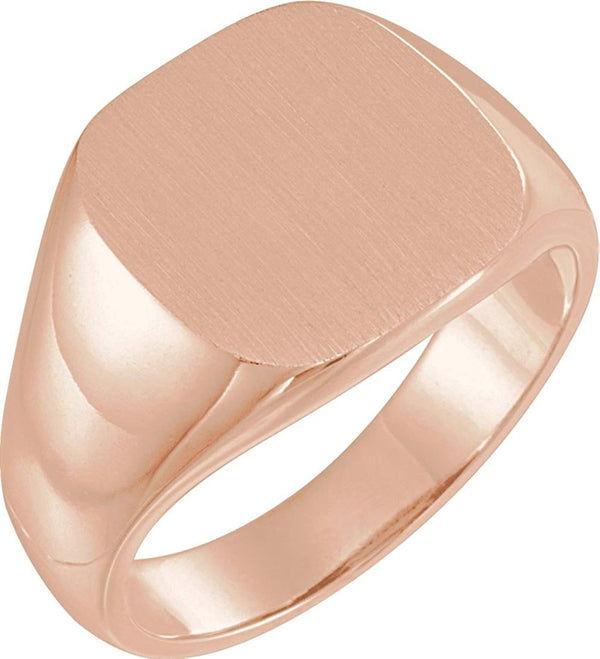 Men's Open Back Brushed Signet Semi-Polished 14k Rose Gold Ring (14mm) Size 10