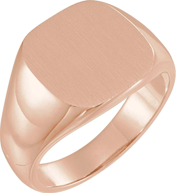 Men's Open Back Brushed Signet Semi-Polished 18k Rose Gold Ring (14mm) Size 10