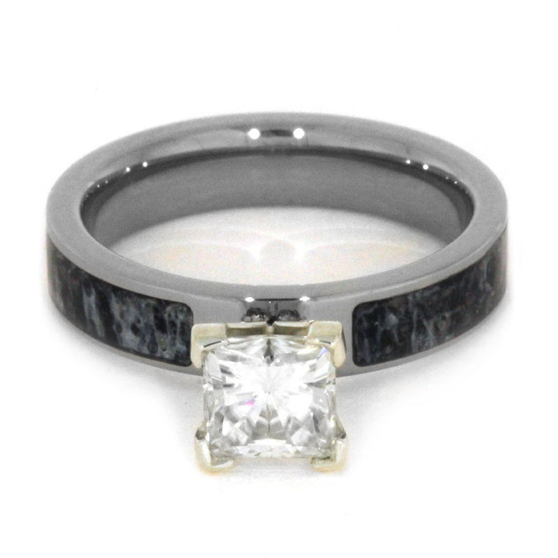 Charles & Colvard Moissanite, Deer Antler 4mm Comfort-Fit Titanium Engagement Ring