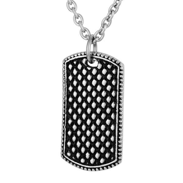 Men's Antiquing Bubble Dog Tag Pendant Necklace, Stainless Steel, 24""