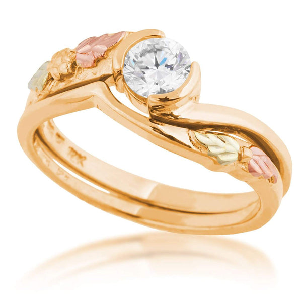Diamond Bypass Engagement Ring, 10K Yellow Gold, 12k Green and Rose Gold Black Hills Gold Motif, Size 9