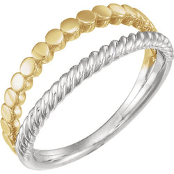 Rope Trim and Flat Granulated Bead Twin Stacking Ring, Rhodium-Plated 14k White and Yellow Gold