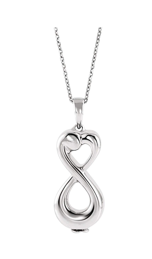 "Infinity Love Ash Holder Rhodium-Plated 10k White Gold Pendent Necklace, 18"" (27.00X9.00 MM)"