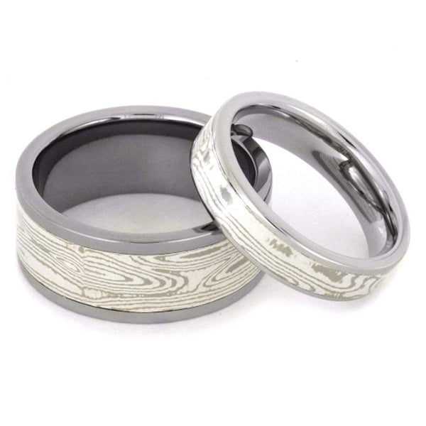His and Hers Wedding Set, Palladium, White Gold, Mokume Gane Titanium Wedding Bands