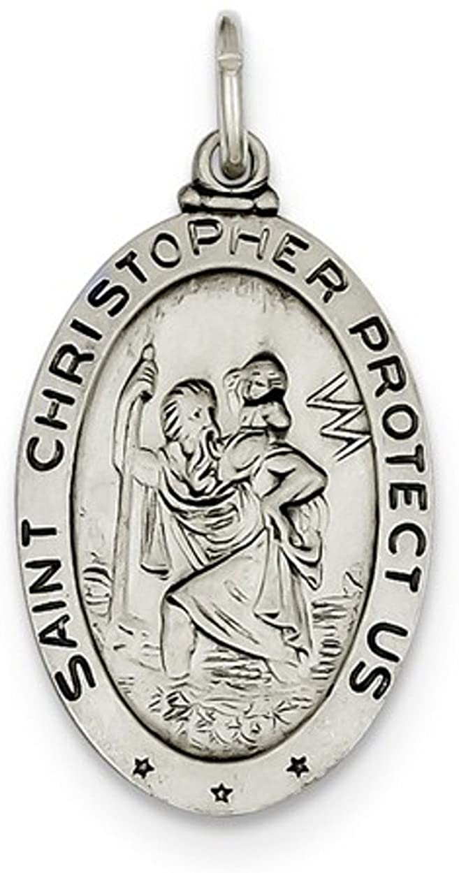 Sterling Silver St. Christopher Baseball Medal (30X15MM)