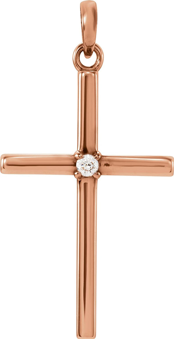 White Sapphire Inset Cross 14k Rose Gold Pendant (19.2x9MM)