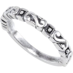 Antiqued S Scroll Stackable 3.1mm Sterling Silver Ring, Size 7