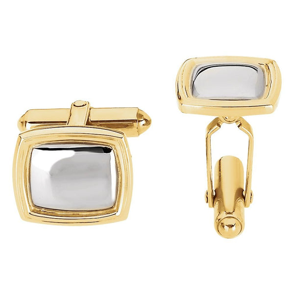 14k Yellow and White Gold Rectangle Cuff Links, 14x16MM