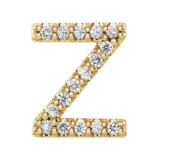 14k Yellow Gold Gold Diamond Letter 'Z' Initial Stud Earring (Single Earring) (.07 Ctw, GH Color, I1 Clarity)