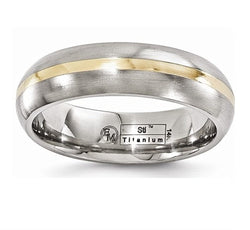 Gold Inlay Collection Brushed Gray Titanium, 14k Yellow Gold 6mm Domed Comfort-Fit Band