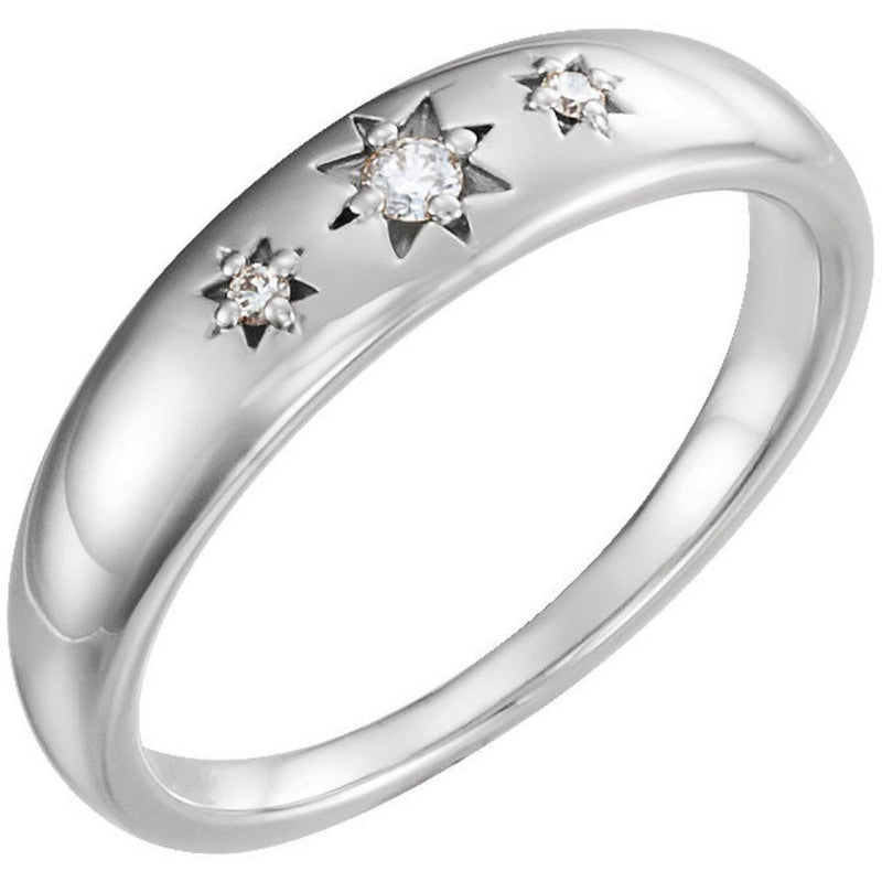 Diamond Starburst Ring, Rhodium-Plated 14k White Gold (.05 Ctw, G-H Color, I1 Clarity), Size 7