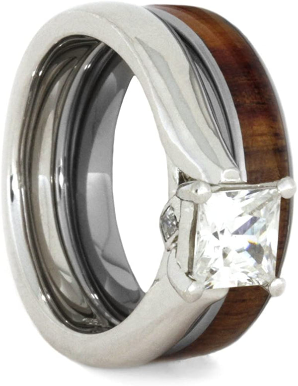 The Men's Jewelry Store (for HER) Charles & Colvard Moissanite and Diamond 10k White Gold Engagement Ring, Tulip Wood Titanium Wedding Band, Bridal Set, Size 6.25