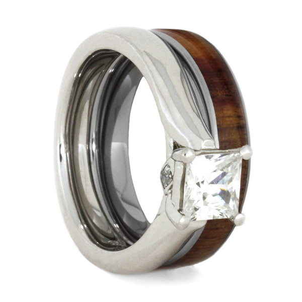 Charles & Colvard Moissanite and Diamond 10k White Gold Engagement Ring, Tulip Wood Titanium Wedding Band, Bridal Set