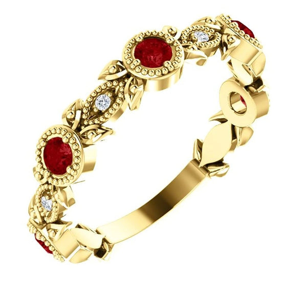 Ruby and Diamond Vintage-Style Ring, 14k Yellow Gold, Size 7