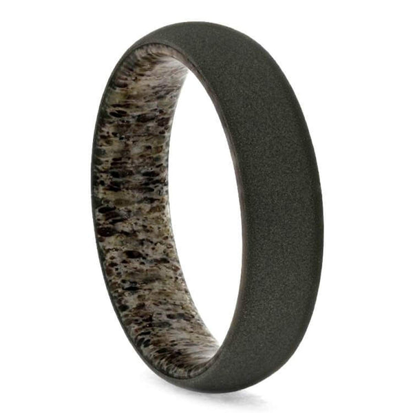 Sandblasted Titanium 6mm Comfort-Fit Deer Antler Sleeve Dome Band, Size 12