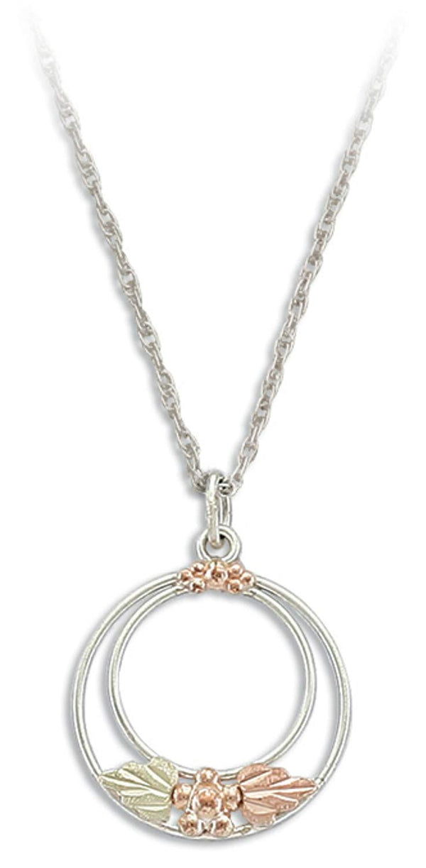 Double Circle Pendant Necklace, Sterling Silver, 10k Yellow Gold 12k Green and Rose Gold Black Hills Gold Motif, 18""
