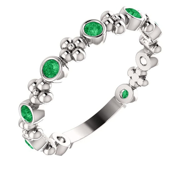 Created Emerald Beaded Ring, Rhodium-Plated 14k White Gold, Size 6.75