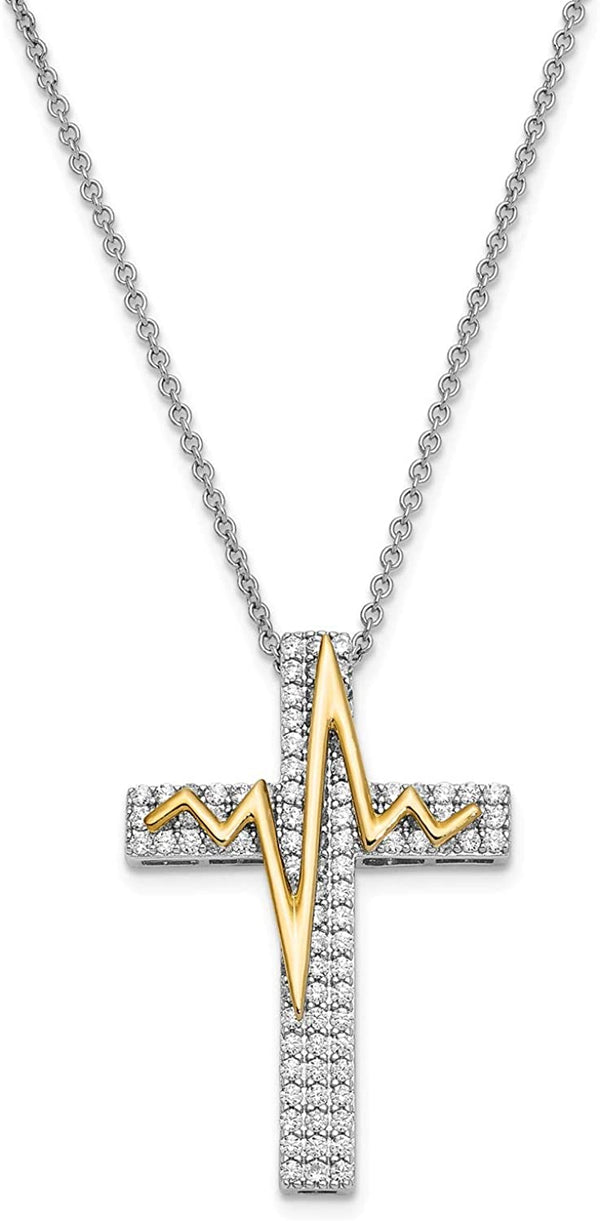 "CZ Cross Pendant and Gold-Plated 'Heart Beats For You' Pendant Necklace, Rhodium-Plated Sterling Silver, 18"" (32x19MM)"