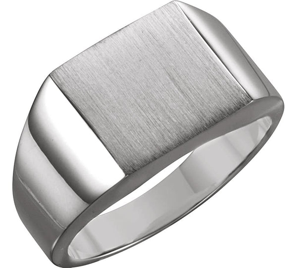 Men's Brushed Signet Ring, Continuum Sterling Silver (12mm) Size 12.75