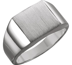 Men's Brushed Signet Semi-Polished 18k X1 White Gold Ring (12mm) Size 6