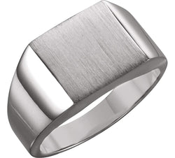 Men's Brushed Signet Ring, Palladium (12mm)