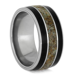 The Men's Jewelry Store (Unisex Jewelry) African Blackwood, Dinosaur Bone 10mm Comfort-Fit Titanium Band