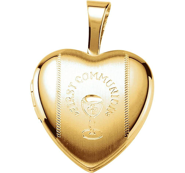 Children's First Communion 14k Yellow Gold Plated Sterling Silver Heart Locket (12.50X12.00 MM)