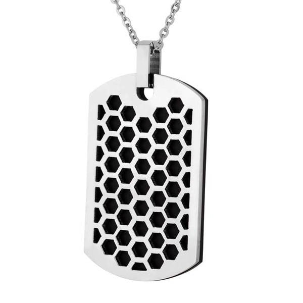 Men's Two-Tone Honeycomb Dog Tag Pendant Necklace, Stainless Steel, 24""