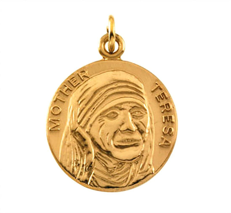 14k Yellow Gold Round Blessed Mother Teresa Medal (18 MM)