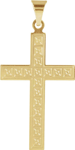 Box Pattern Cross 14k Yellow Gold Pendant (22X14MM)