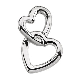 Double Heart Pendant, Sterling Silver