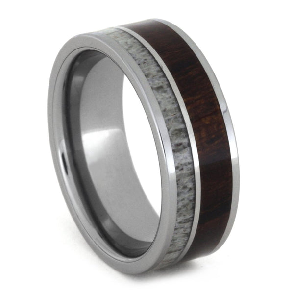 Ironwood, Deer Antler, Titanium 8mm Comfort-Fit Tungsten Band
