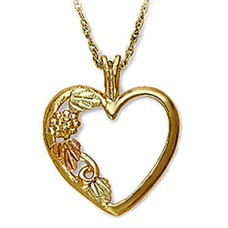 Mirror Polished Heart with Leaves Pendant Necklace, 10k Yellow Gold, 12k Green and Rose Gold Black Hills Gold Motif, 18""
