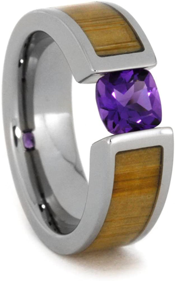 Tension Set Antique Amethyst Bamboo 6mm Comfort-Fit Titanium Wedding Band, Size 14