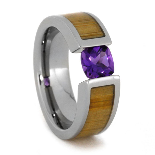 Tension Set Antique Amethyst Bamboo 6mm Comfort-Fit Titanium Wedding Band, Size 10
