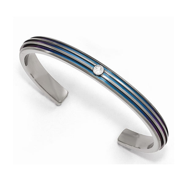 Radiance Collection Gray Titanium Triple Groove Blue Anodized and White Sapphire Cuff Bangle Bracelet