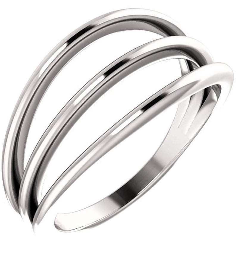 3 Row Negative Space Ring, Sterling Silver, Size 6.5