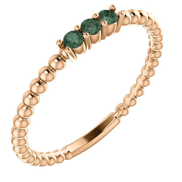 Chatham Created Alexandrite Beaded Ring, 14k Rose Gold, Size 7