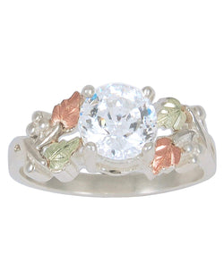 Sterling Silver CZ Band with 12k Rose and Green Gold, Sizes 4 to 9