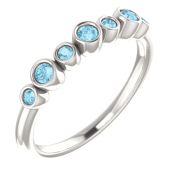 Aquamarine 7-Stone 3.25mm Ring, Sterling Silver, Size 6