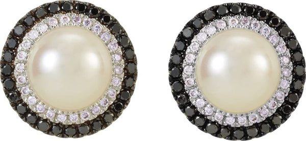 14k White Gold Freshwater Cultured Pearl, Black and White Diamond Halo Earrings