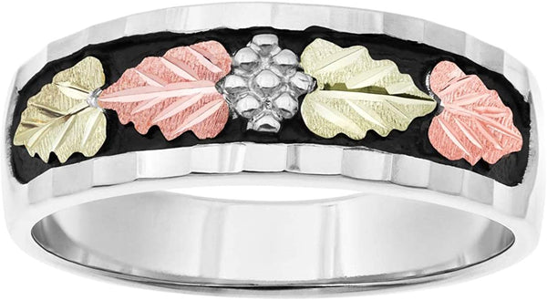 Sterling Silver, 12k Rose and Green Gold Black Diamond-Cut Black Hills Gold Wedding Band, His and Hers Wedding Ring Set M11-F3